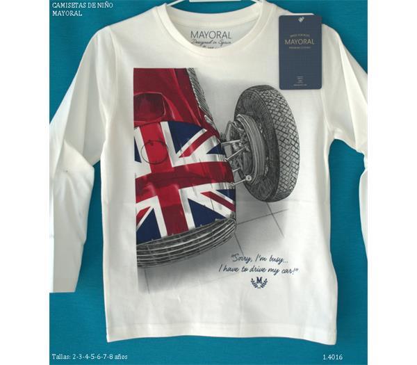 3b16e0f5e Mayoral outlet camiseta de niño serigrafía coche. Rebajado. ColorCRUDO